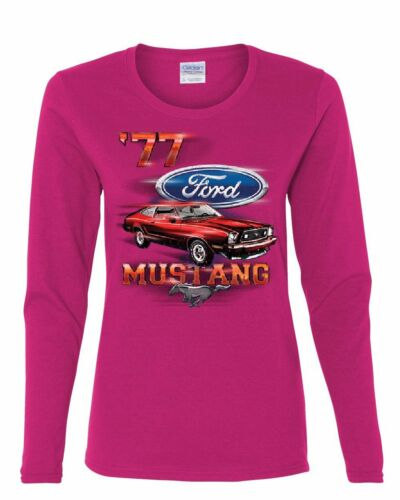 Ford Mustang /'77 Women/'s Long Sleeve Tee American Classic Muscle Car