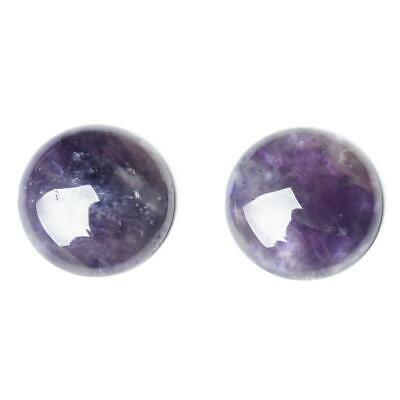 Pack of 4 x Purple Amethyst 10mm Coin-Shaped Flat-Backed Cabochon Charming Beads CA16682-2