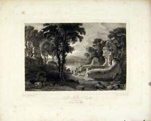 Original-Old-Antique-Print-Loch-Maben-Castle-Dumfrieshire-Scottish-Lakes