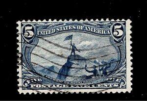 U-S-1898-Sc-288-5-c-Trans-Mississippi-Used-Light-Cancel-Crisp-Color