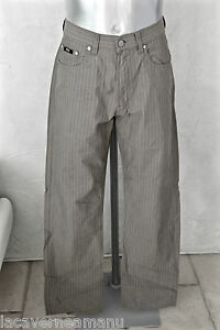 carino-pantaloni-marroni-a-strisce-HUGO-BOSS-albama-taglia-W33-L34-EXELLENT