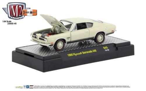 1:64 machines M2 Detroit Muscle R45 = beige 1969 Plymouth Barracuda 440 Neuf dans sa boîte!