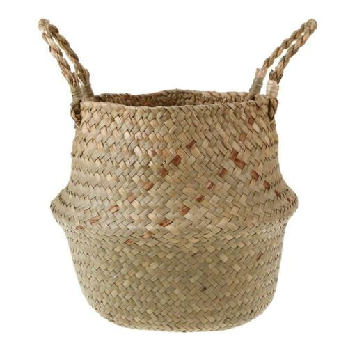 Seagrass Belly Basket Flower Plant Woven Storage Wicker Basket Pot Home Decor US