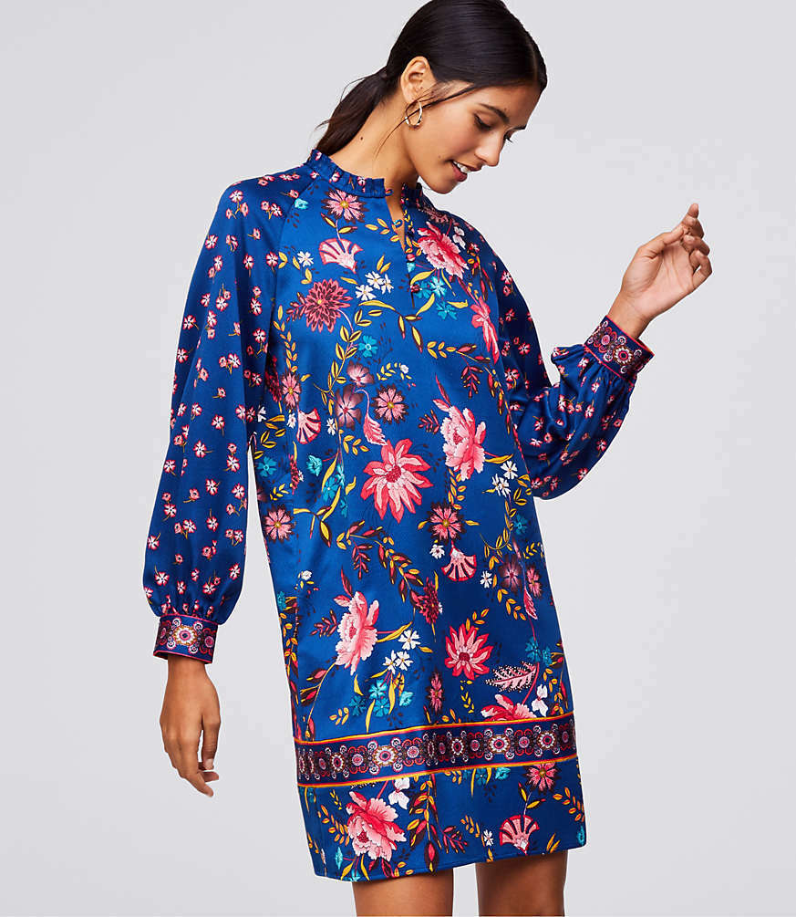 NWT LOFT Women's Wildflower Satin Shift Dress - Soft Denim bluee - Size X Small