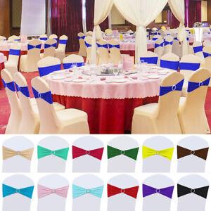 100pcs Spandex Stretch Chair Sash Bows Bands Sashes Wedding Banquet Party Decor Ebay