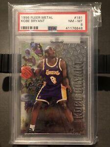 LOOK-KOBE-1996-Fleer-Metal-Kobe-Bryant-PSA-8-RC-Rookie-181-Rare-Lakers