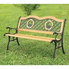 Hathers Natural Double Swan Outdoor 4 ft. Metal Bench, Oak