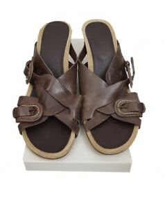 CLARKS-Shoes-Size-7-Brown-Leather-Strappy-Sandals-Holiday-Evening-Casual-Party