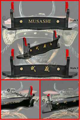 Black New 3 Tier Handsome Samurai Katana Sword Blade Wooden Display Wall Rack