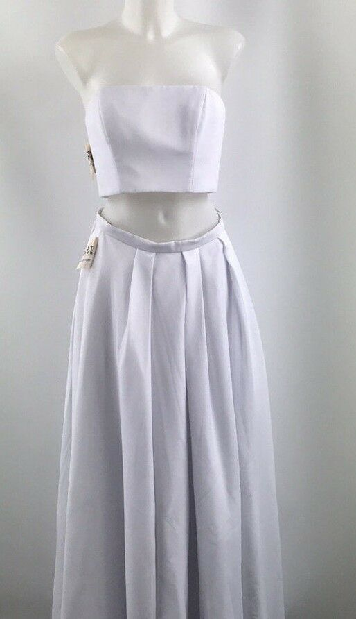 Fame And Partners White Evening Skirt Set Size 8