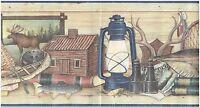 Lamps Wooden Ducks Nets And Books Binoculars Rods Wallpaper Border Wall Decor