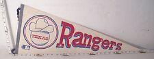 TEXAS RANGERS MLB BASEBALL TEAM VINTAGE WOOL FELT PENNANT COWBOY HAT ON BALL