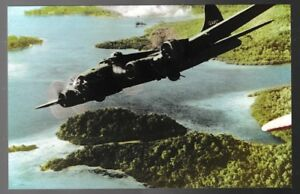 WWII-B-17-bomber-over-Solomon-Islands-postcard