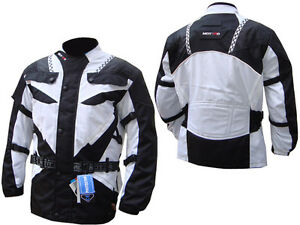 Motorcycle-Motorbike-CE-Approved-Armoured-waterproof-CorduraTextile-Jacket-WHITE
