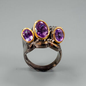 Handmade-Natural-Amethyst-925-Sterling-Silver-Ring-Size-8-5-R123179