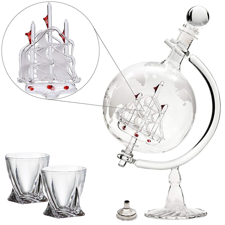 Large 35 Oz 'Ship' Handmade Whiskey Etched Globe Decanter Set, Diamond glasses