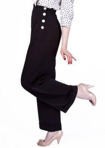 1940s 1940s 1940s Pantaloni Swing in Nero da casa di Foxy 216805