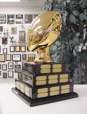 3 TIER LARGE FANTASY FOOTBALL FFL PERPETUAL AWARD 38 YEARS TOP OF THE LINE GOLD*
