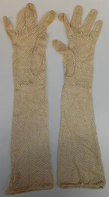Dents ladies gloves ARTIFICIAL SILK vintage ART DECO elbow length DISCOLOURED