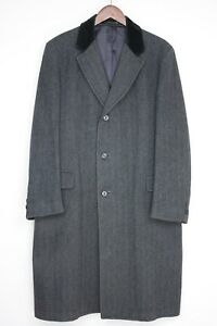 Harcourt-James-Wool-Tweed-Chesterfield-Coat-40R-Gray-Herringbone-Velvet-Collar