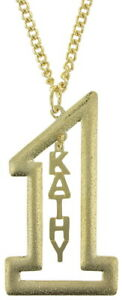Vintage-Gold-Tone-Number-1-Name-Plate-Pendant-2-1-2-034-Necklace-22-034-Kathy