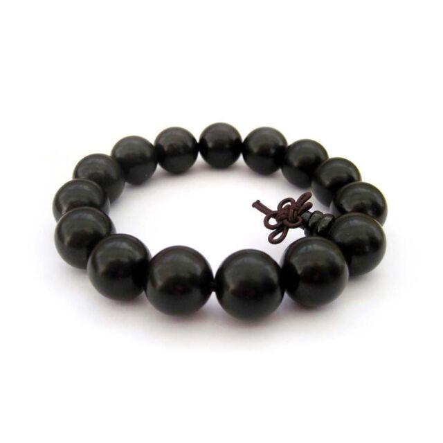 15mm Black Sandalwood Beads Tibet Buddhist Prayer Bracelet Mala