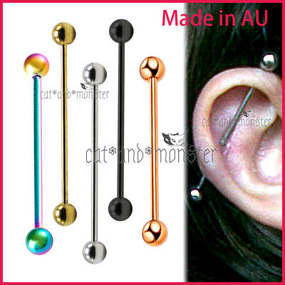 14G Titanium Anodized Industrial Bar Barbell Ear Ring Earring Piercing Jewellery