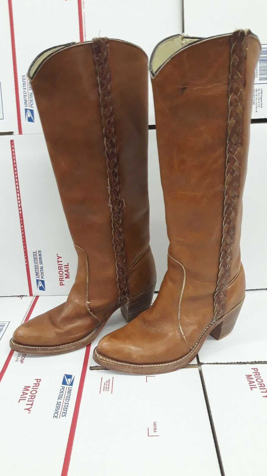 Double H Hh Vintage Campus botas de vaquero occidental de Cuero Marrón Alto Para Mujer 6.5 B