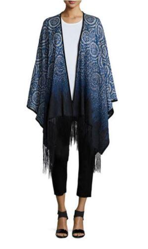 Poncho Misook Black Trim Size Fringe s Blue Printed Sparkles River O One rXwqzXE0