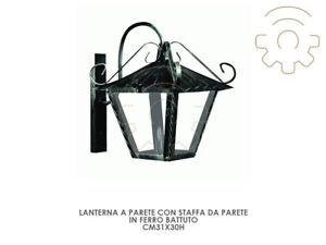 Fiable Lanterna Lampada Da Parete Con Staffa A Parete Cm31x30h Ferro Battuto Esterno CoûT ModéRé
