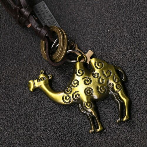 Leather Gift Antique Zinc Alloy Necklace Camel Pendant Jewelry Sweater Chain