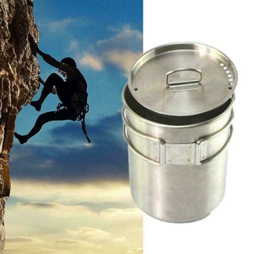800ML Stainless Steel Camping Cookware Pot Cup Water Mug Handle with Lid T6V9