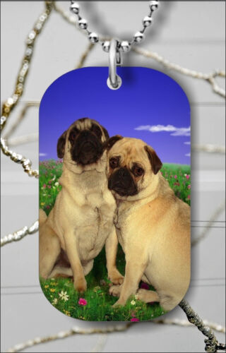 LOVE IS FOR PUG TOO DOG TAG NECKLACE PENDANT FREE CHAIN n2rc