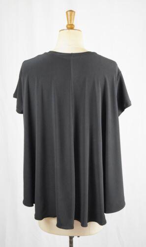 Baylis /& Knight BLACK Oversize Relaxed Swing Drape TOP Short Sleeve Tshirt