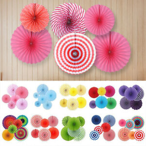 6x Paper Fan Flowers Wedding Baby Birthday Party Tissue Paper Table