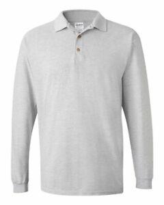 Gildan-Ultra-Cotton-Long-Sleeve-Pique-Polo-Golf-Shirt-Sport-Grey-XL-NEW