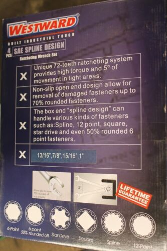 NIB Westward 4 PC Combination Anti-slip Spline Ratcheting Wrench Set SAE