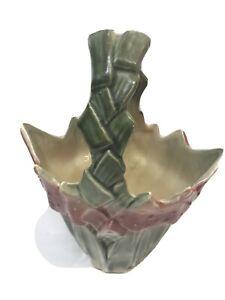 Vintage-1940s-McCoy-Mid-Century-Pottery-Basket-Planter-Please-Read-Description