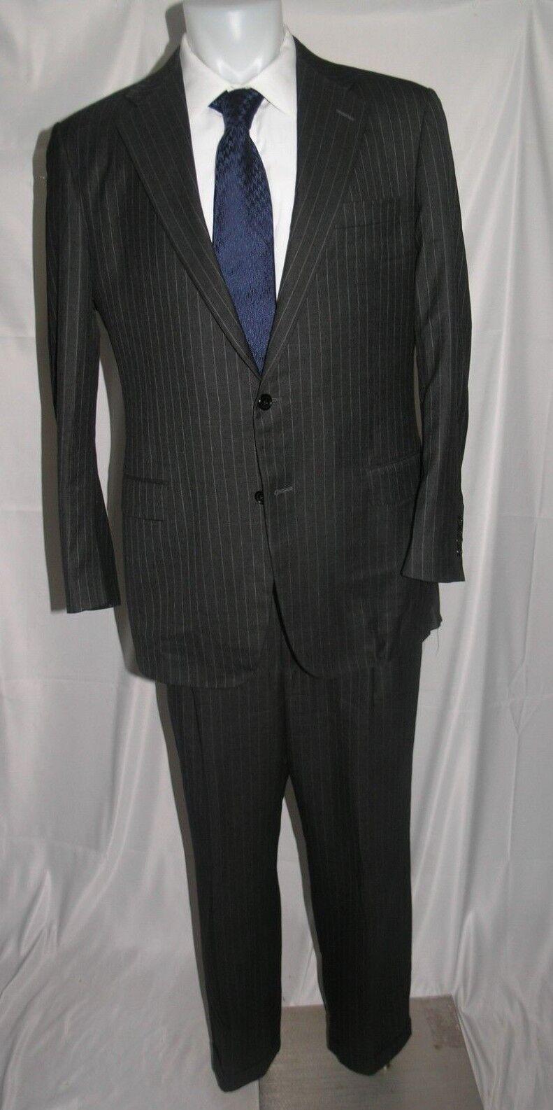 Hickey kostenlosman Addison LGold Piana Super 150 Charcoal Striped Two Button Suit 42L