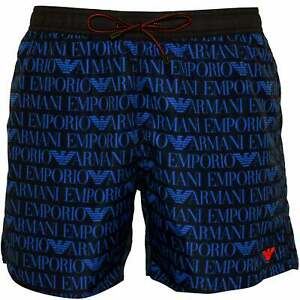 e83ac0eba7 Details about Emporio Armani Allover Logo Pattern Men's Swim Shorts,  Blue/Navy