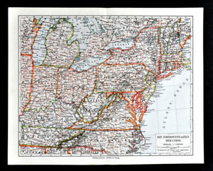 Map Of New York Ohio Area.Details About 1900 Meyers Map Northeast United States New York Virginia Ohio Michigan Maine