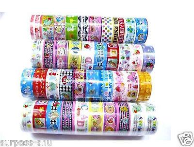10 Rolls 1.5CM X2M Mixed Cartoon Deco Washi Tape Adhesive Scrapbooking Sticker U