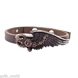 Alchemy-Gothic-Men-039-s-Steampunk-Bracelet-The-Black-Baron-Technician-039-s-Wings