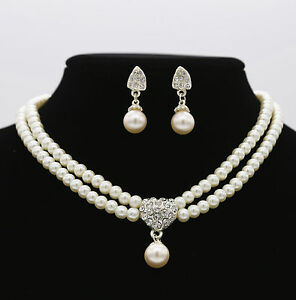 89d1e32be Image is loading Women-Party-Prom-Pearl-Crystal-Rhinestone-Diamond-Necklace-