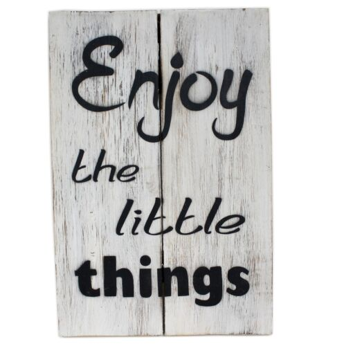 Massives Holz-Schild ~ Enjoy the little things ~ weiß ~ 30 x 20 cm ~ Shabby Look