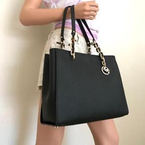 67816f0b1c3c0a Image is loading NWT-Michael-Kors-Sofia-Susannah-Black-Leather-Large-