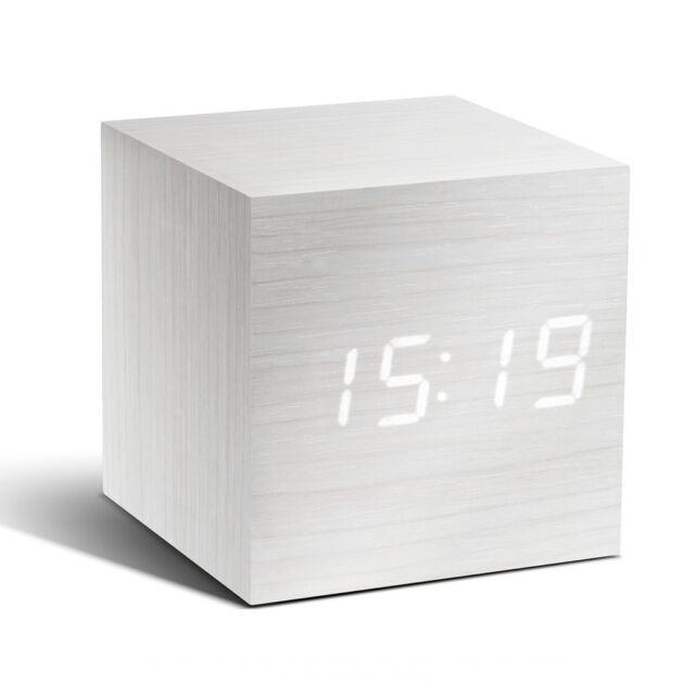 Despertador LED Blanco Diseño, Fecha, Temperatura, con Madera - Atlanta 1134/0