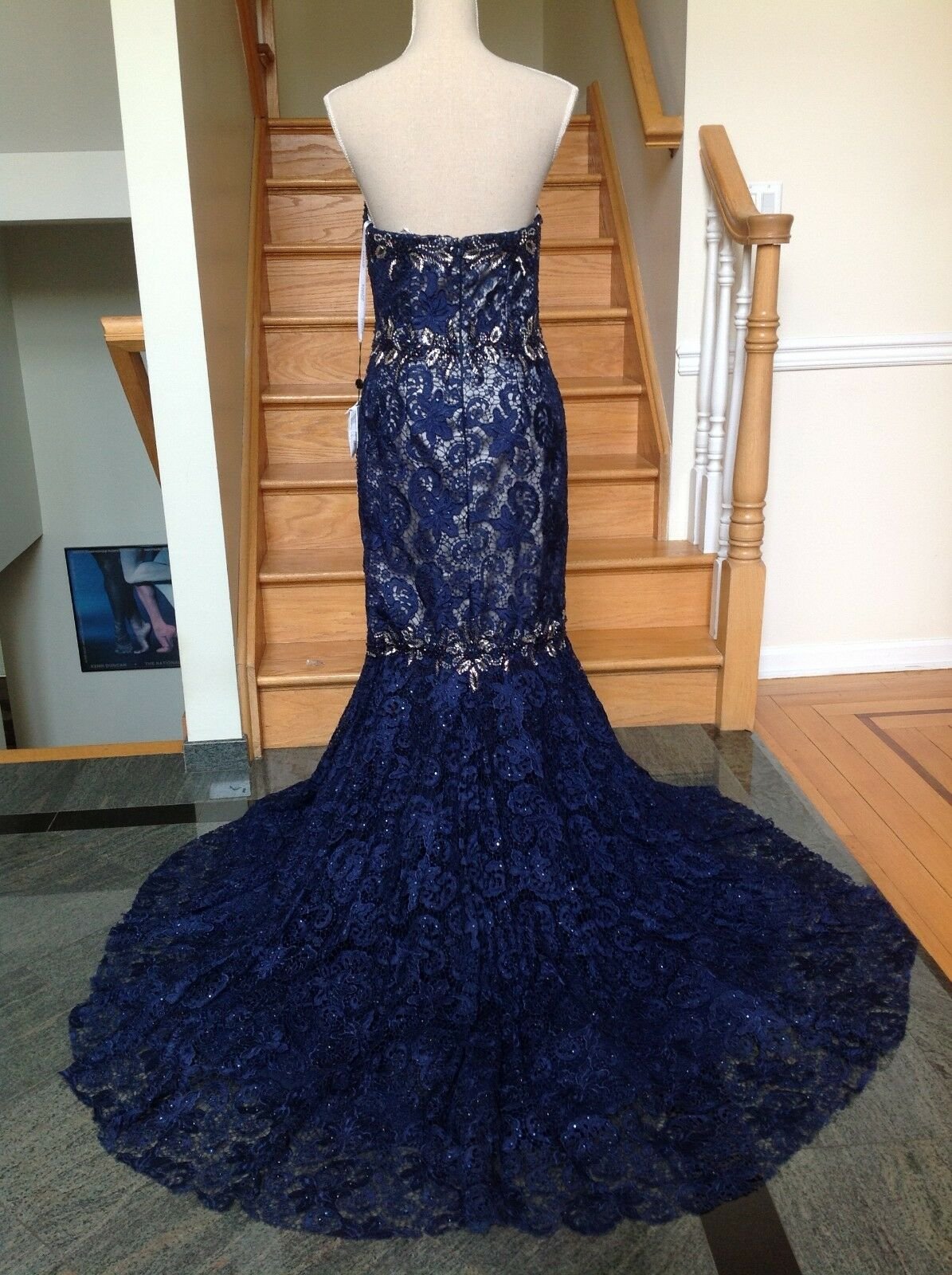 NWT  550 JOVANI 92626 Long Navy Lace Mermaid    6 12 Gown Dress PAGEANT Prom a97e18