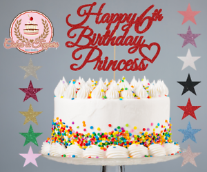 Peachy Glitter Cake Topper Decorations Happy Birthday Princess 1St 2Nd Personalised Birthday Cards Paralily Jamesorg