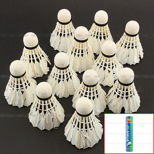 New-12-Pcs-White-Goose-Feather-Badminton-Ball-Shuttlecocks-Sport-Training-Game